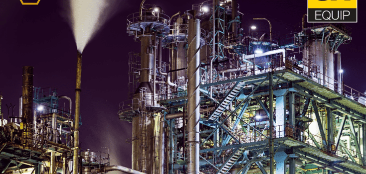 Industrial area with stairs and pipes performing in the dark