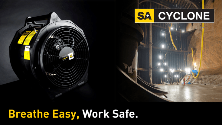 SA CYCLONE Portable Fan 30cm is a high power ventilation unit. Product image next to image of product in use in hazardous areas