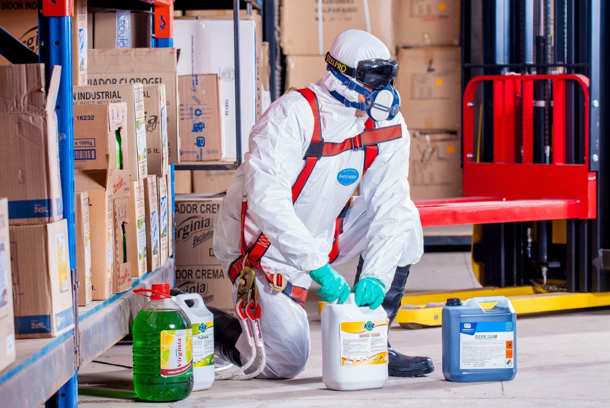 PPE white uniform and chemical products